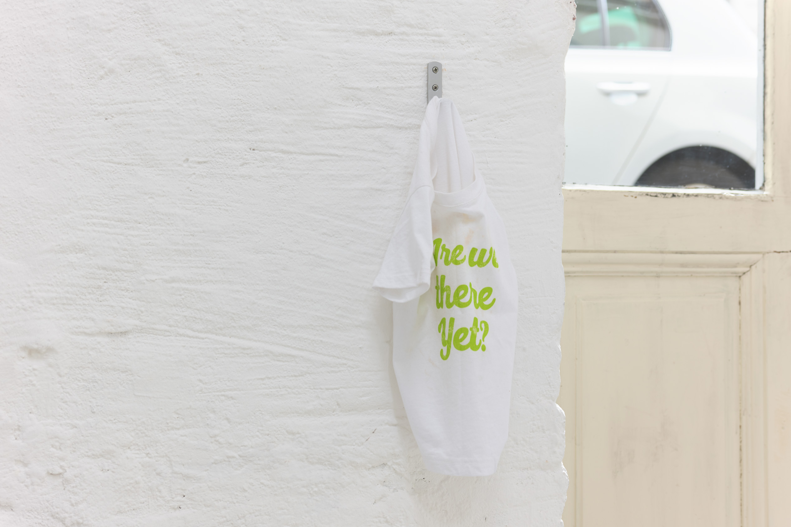 Emily Jones, Greenhithe for Bluewater, toddlers tshirt which reads 'Are we there yet?', stag print on canvas with LED lights