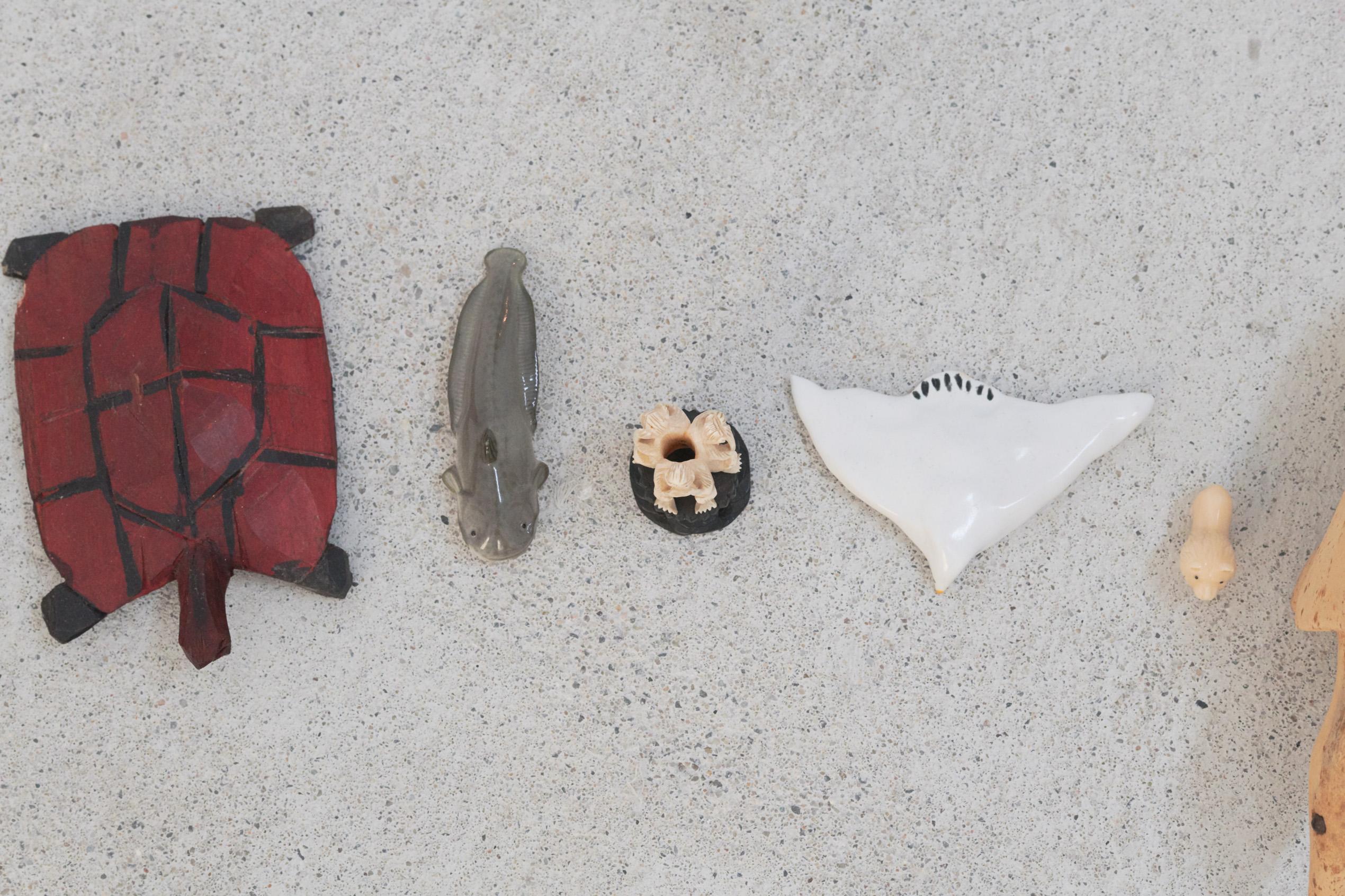 Emily Jones, The Lookers, Porcelain, glass, wicker, plastic, rubber, cotton & wooden animal figures, lollipop (detail)