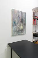 Exhibition view (Emi Mizukami, The bottom of the night, Acrylic and graphite on canvas, 91 x 65 cm, 2020)