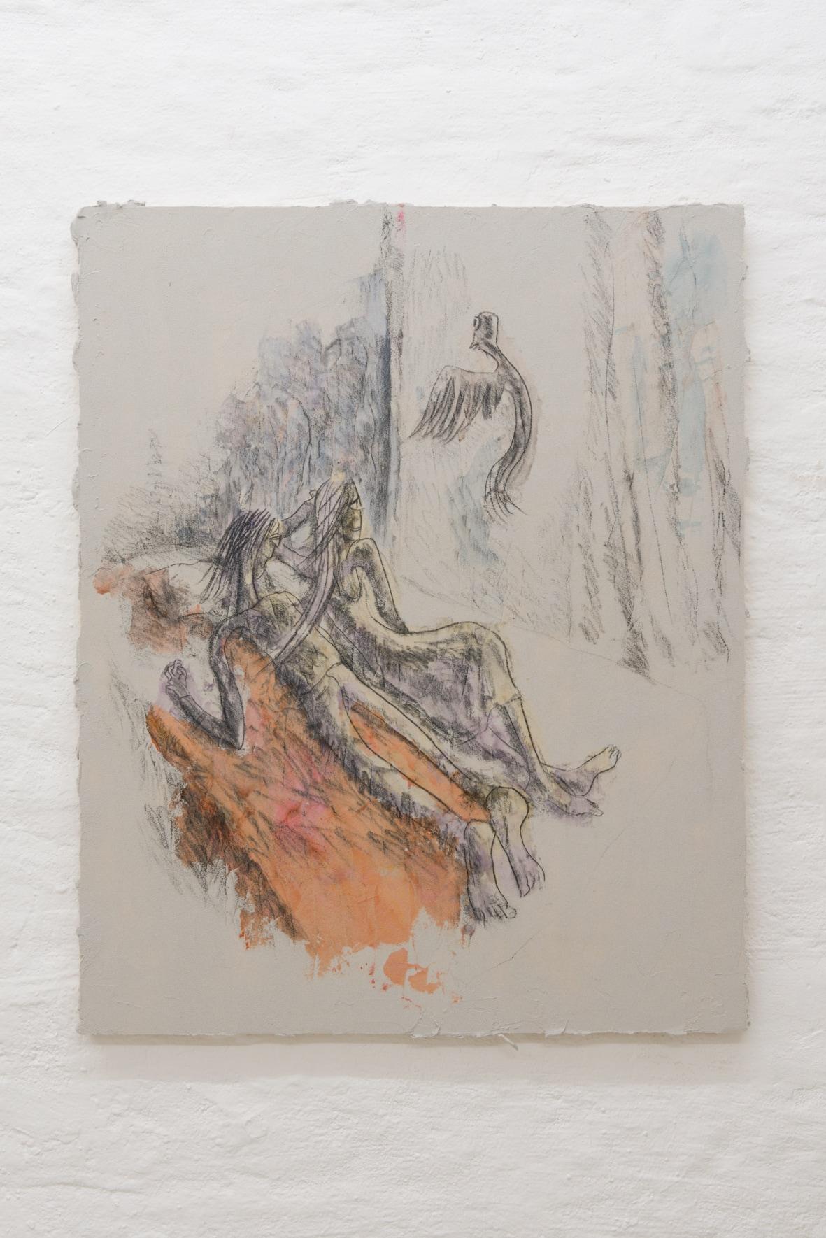 Emi Mizukami, humming bird, still alive, Acrylic and graphite on canvas, 100 x 80.5 cm, 2020