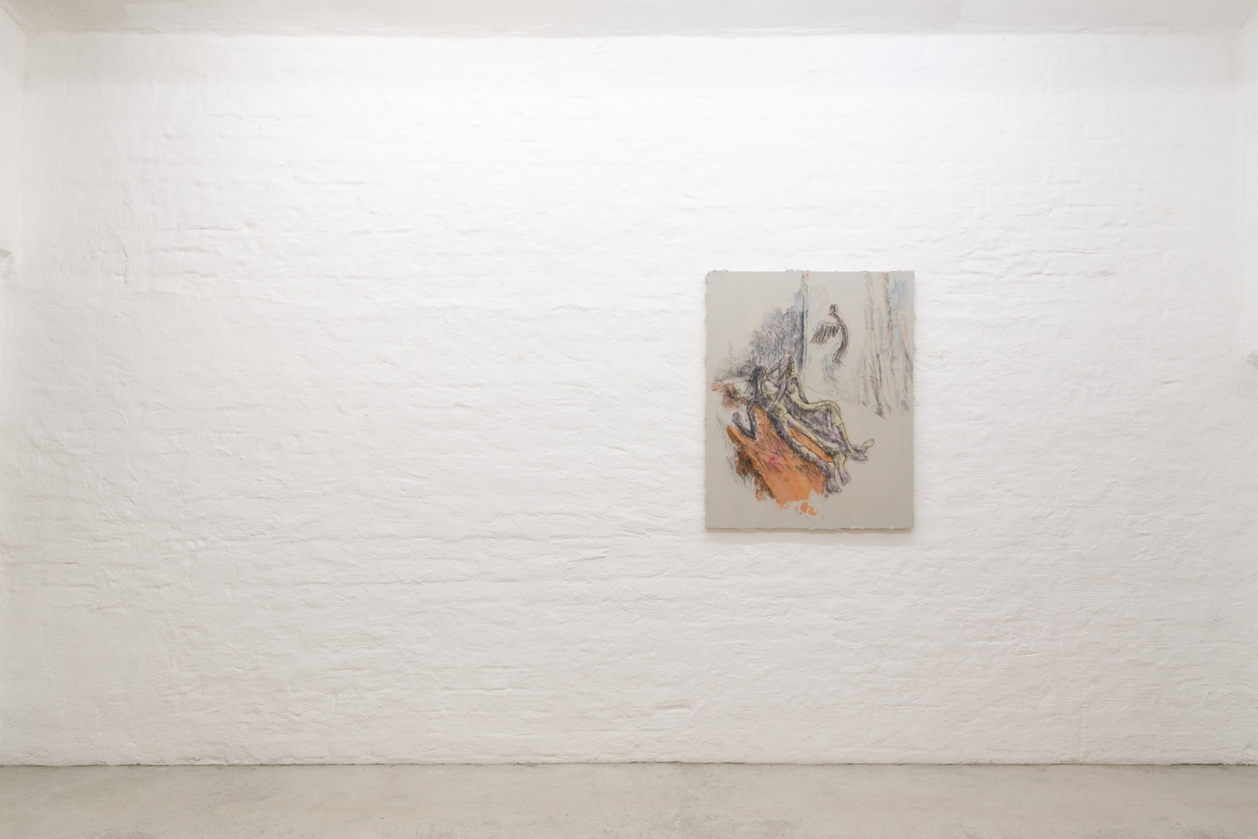 Exhibition view (Emi Mizukami, humming bird, still alive, Acrylic and graphite on canvas, 100 x 80.5 cm, 2020)