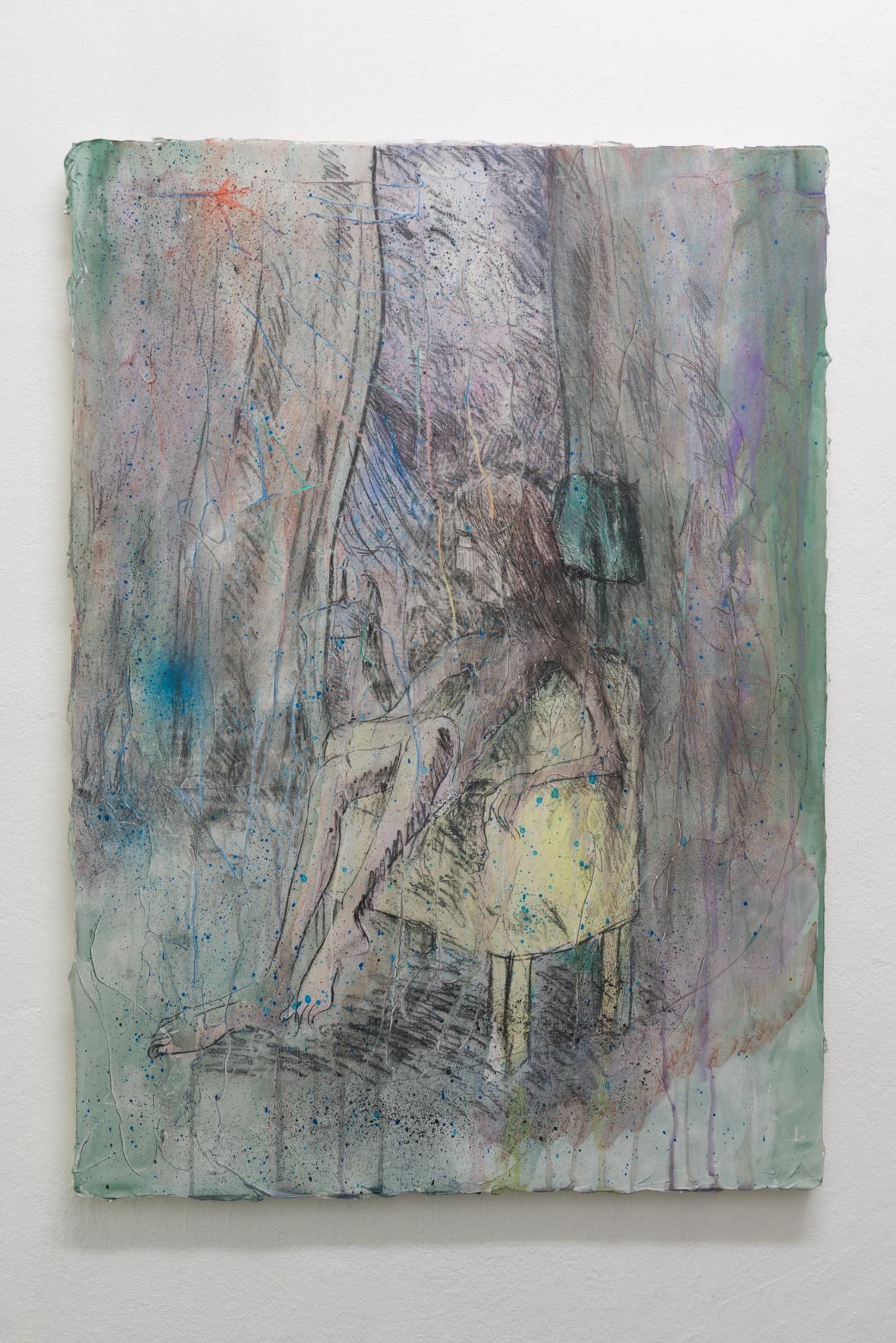 Emi Mizukami, The bottom of the night, Acrylic and graphite on canvas, 91 x 65 cm, 2020