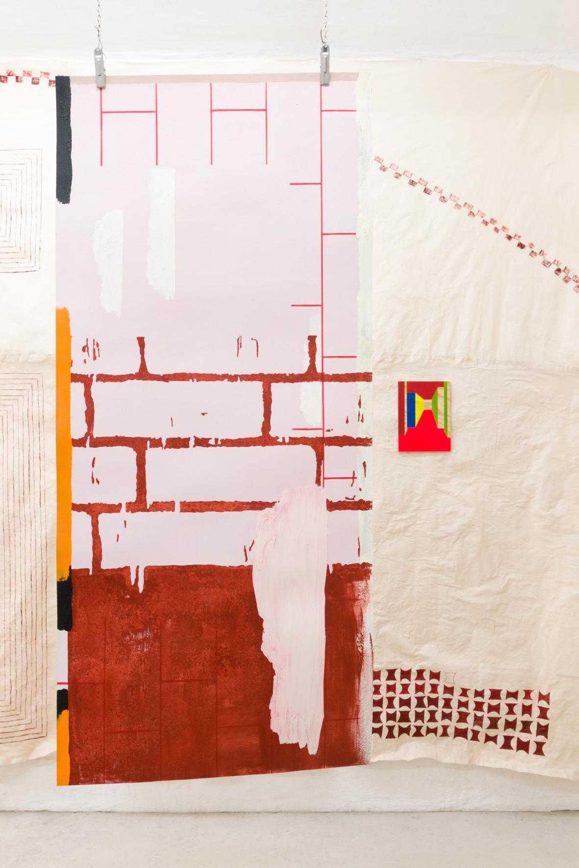 Sonia Almeida, Liminal score, 2021 Oil paint on wood veneer, 117 x 51 cm