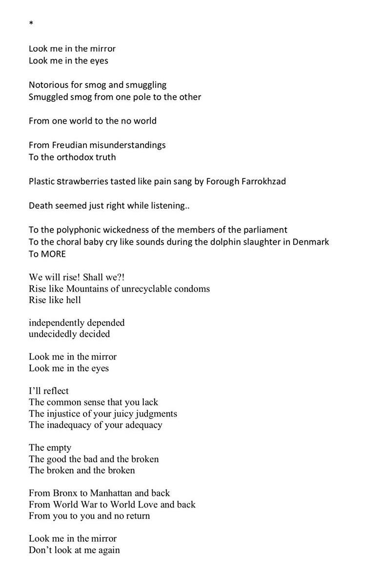 Nino Sakandelidze: untitled poem (look me in the mirror), 2020